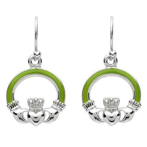 Platinum Plated Green Claddagh Earrings