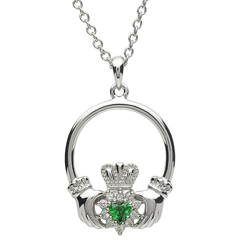 SharOre Platinum Plated Stone Cluster Claddagh Necklace