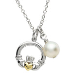 SharOre Platinum Plated Pearl Claddagh Necklace