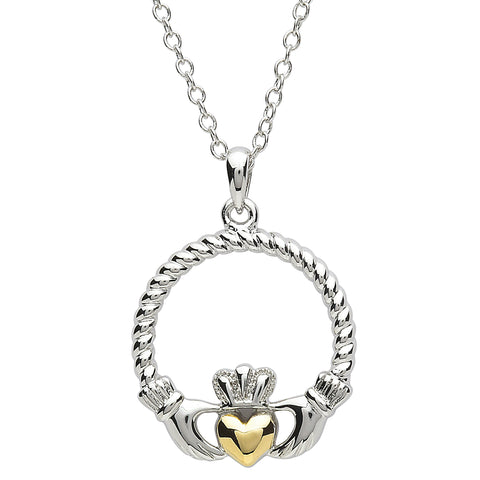 SharOre Platinum Plated Rope Claddagh Necklace
