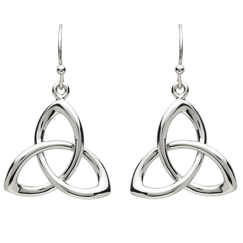 Platinum Plated Trinity Knot Earrings