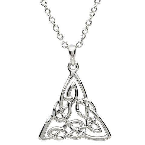 SharOre Platinum Plated Intricate Celtic Triangle Necklace
