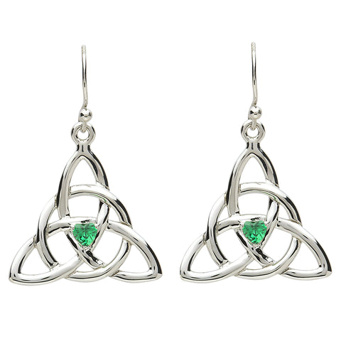 Platinum Plated Celtic Trinity Earrings