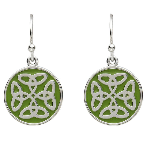 Platinum Plated Green Round Trinity Earrings