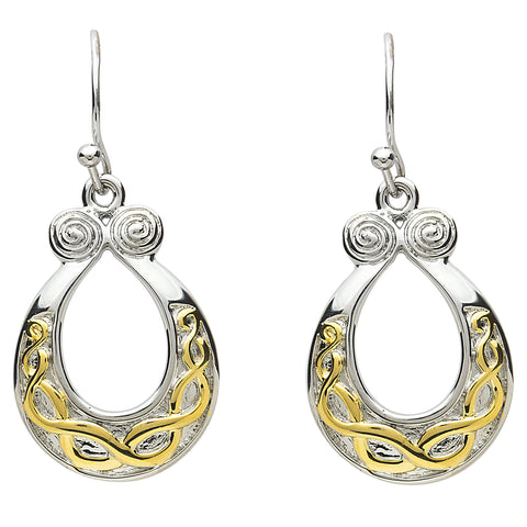 Platinum Plated Horseshoe Loop Earrings