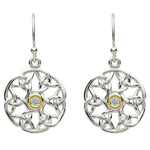 Platinum Plated Intricate Circle Stone Earrings