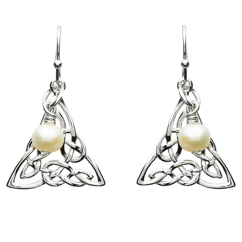 Platinum Plated Celtic Triangle Pearl Earrings