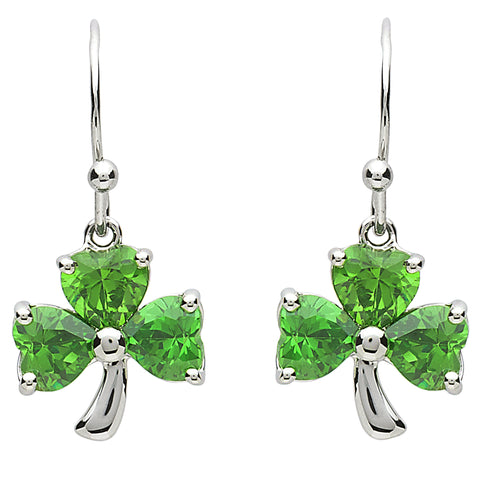 Platinum Plated Shamrock Jewel Earrings