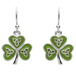 Platinum Plated Shamrock Trinity Earrings