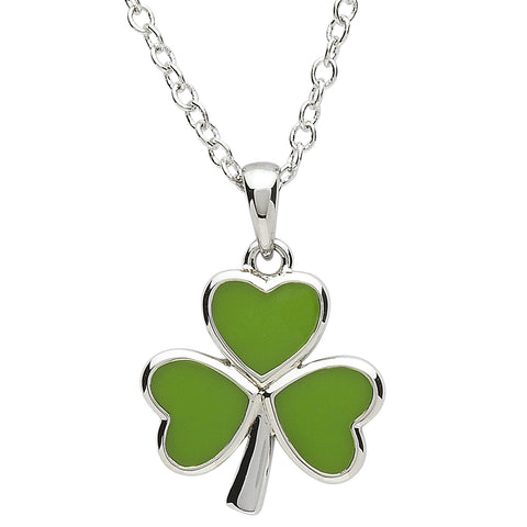 SharOre Platinum Plated Green Shamrock Necklace