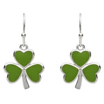 Platinum Plated Green Shamrock Earrings