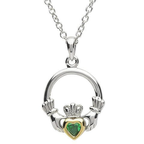 SharOre Platinum Plated Emerald Claddagh Necklace