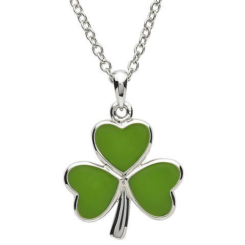 Platinum Plated Green Shamrock Necklace