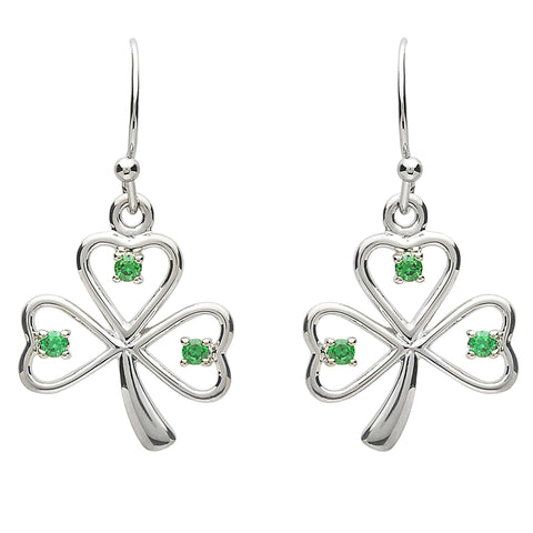 Platinum Plated Open Shamrock Stone Earrings