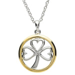 Necklace | Platinum Plated Shamrock Circle