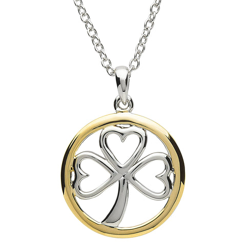 Platinum Plated Shamrock Circle Necklace
