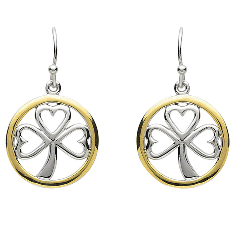 Platinum Plated Shamrock Circle Earrings