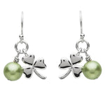 Platinum Plated Green Pearl Shamrock Earrings