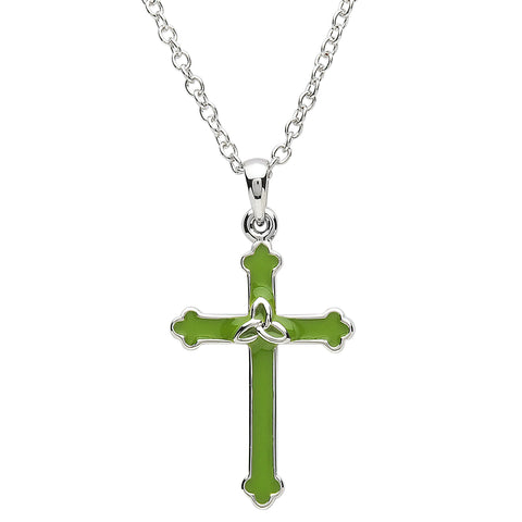 Platinum Plated Green Cross Necklace