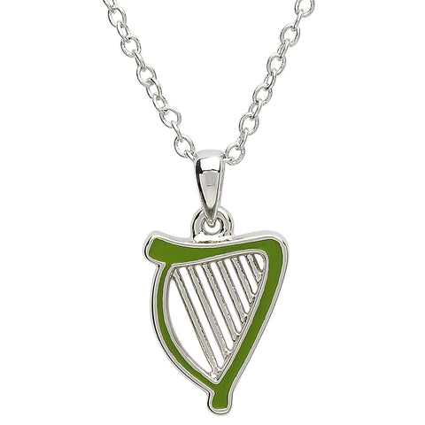 SharOre Platinum Plated Green Harp Necklace