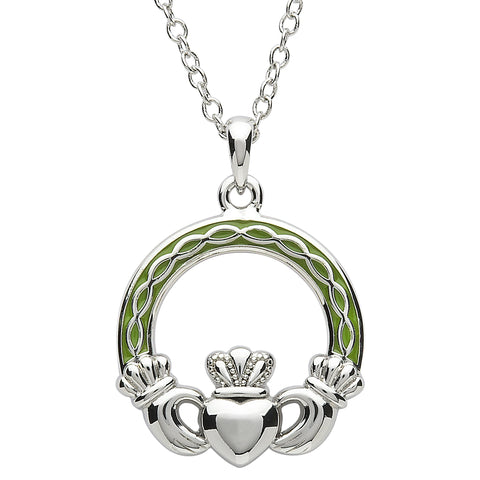 SharOre Platinum Plated Green Celtic Claddagh Necklace