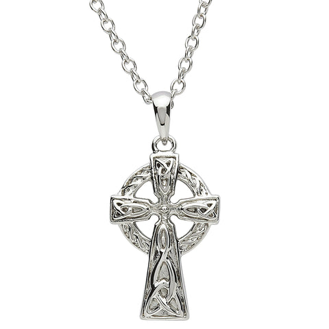 SharOre Platinum Plated Celtic Knot Trinity Cross Necklace