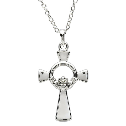 SharOre Platinum Plated Claddagh Cross Necklace