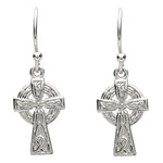 Platinum Plated Celtic Knot Trinity Cross  Earrings