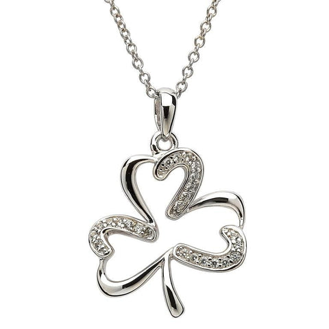 SharOre Open Shamrock Pendant Necklace