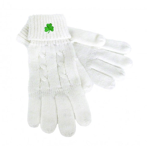White Cable Knit Gloves with Shamrock