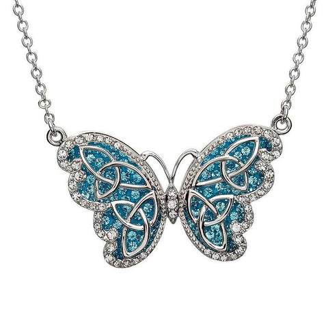 SharOre Swarovski Aqua Butterfly Necklace