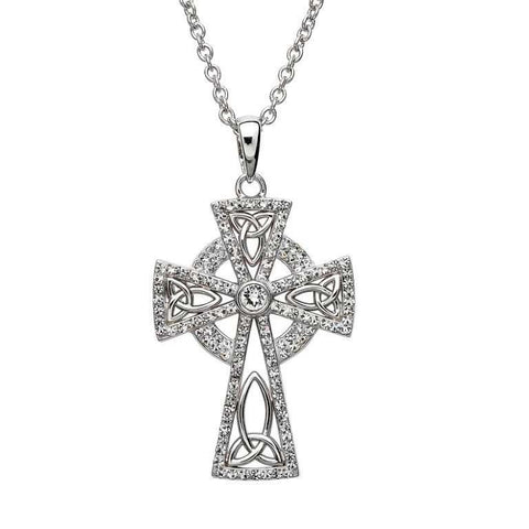 Necklace | Swarovski Two-Tone Trinity Knot Cross