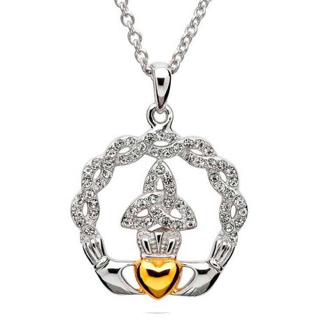 SharOre Swarovski Calddagh Knot Necklace