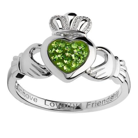 Silver Ring Encrusted With Peridot Swarovski Crystal