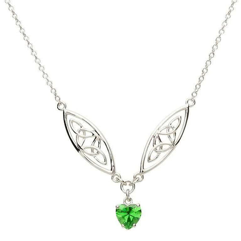 SharOre Celtic Silver Stone Set Trinity Necklace