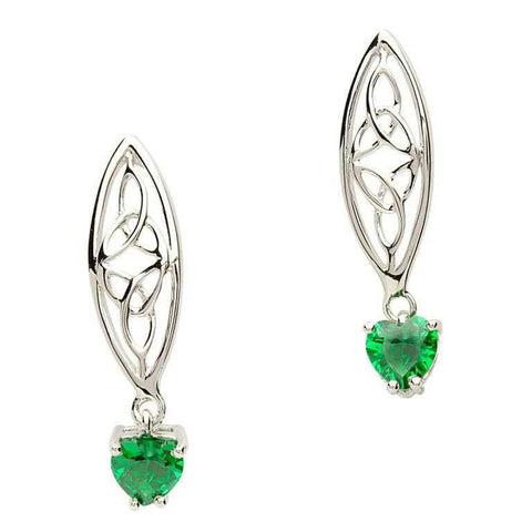 Celtic Trinity Stone set Silver Earrings