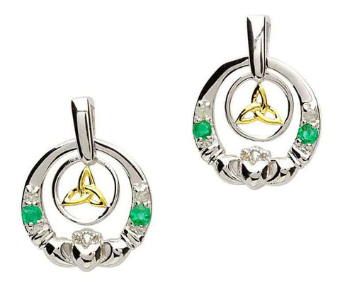 Claddagh Silver Emerald Diamond Earrings