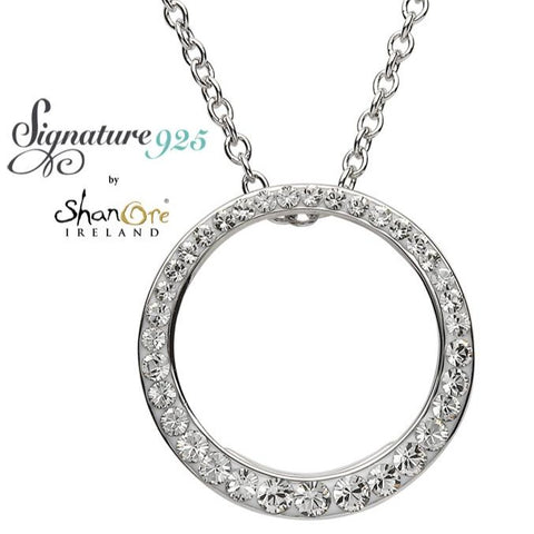 Signature 925 Collection  Silver Circle Pendant Embellished With White Swarovski Crystal Necklace