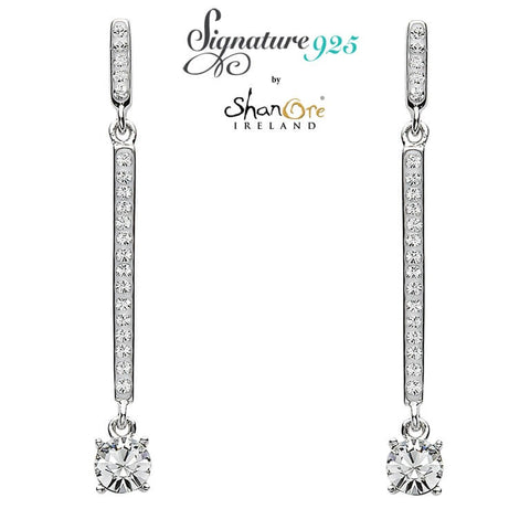 Signature 925 Collection | Two Part Silver Drop Earrings Encrusted With White Swarovski Crystal