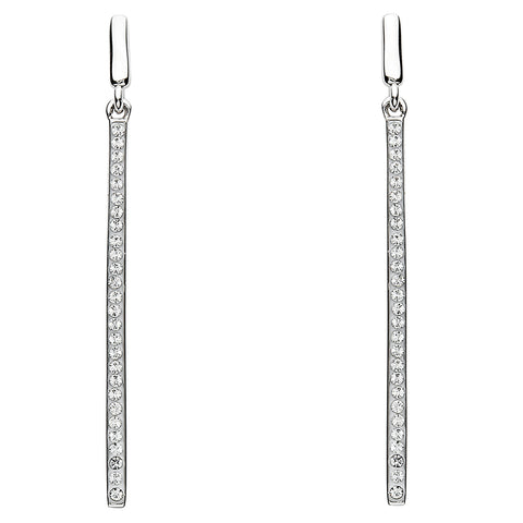 Signature 925 Collecton | Silver Long Drop Earrings Adorend With White Swarovski Crystal