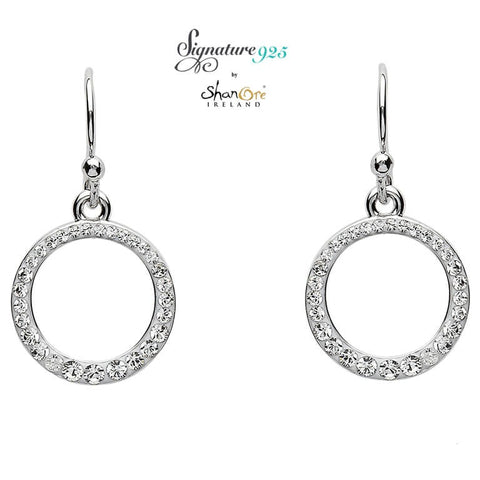 Earrings | Signature 925 Collecton | Silver Circle Earrings Embellished With White Swarovski Crystal