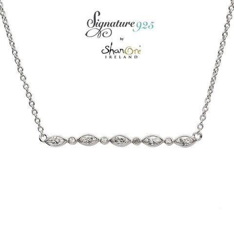 Signature 925 Collection Swarovski Marquise And Round Pendant Necklace