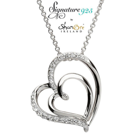 Signature 925 Collection Swarovski Double Heart Pendant Necklace