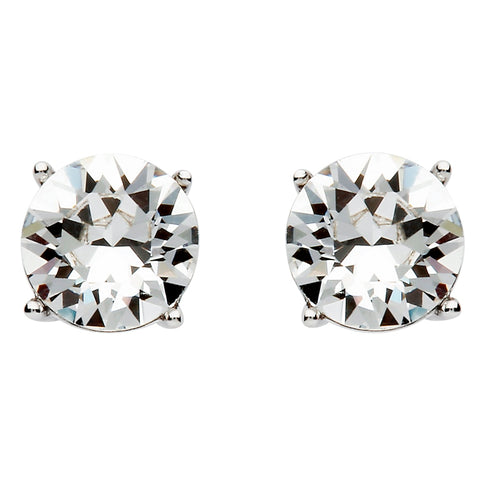Signature 925 Collecton | Round Silver Stud Earring Set With White Swarovski Crystal