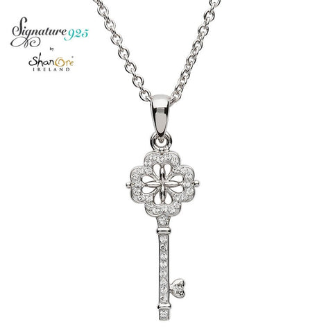 Necklace | Signature 925 Collection | Elegant Key Pendant Encrusted With White Swarovski Crystal