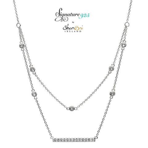 Signature 925 Collection Swarovski Double Chain Bar Necklace