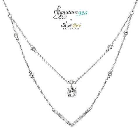 Signature 925 Collection Swarovski Double Chain V Bar Necklace