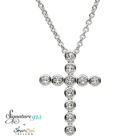 Signature 925 Collection Swarovski Round Simple Style Silver Cross Necklace