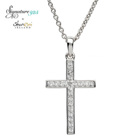 Signature 925 Collection Swarovski Simple Style Cross Necklace