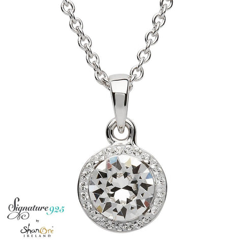 Signature 925 Collection Swarovski Halo Pendant Necklace